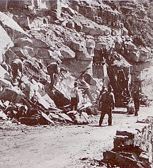 Contractors saved rock removed during excavation for use in masonry work. Sometimes they needed more rock, so they set up several quarries along the road. One quarry that was used extensively was just west of Haystack Creek. National Park Service photograph, circa 1930