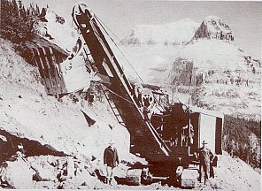 A Colonial Building Co. steam shovel east of Logan pass - National Park Service photograph, circa 1932
