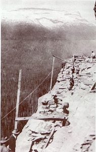 Building a retaining wall near Granite Creek - National Park Service photograph, circa 1927